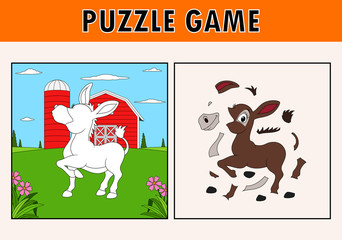 Jigsaw puzzle game with cute donkey animal