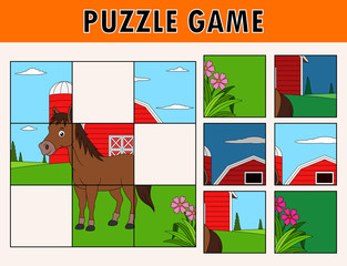 Jigsaw puzzle game with cute horse animal