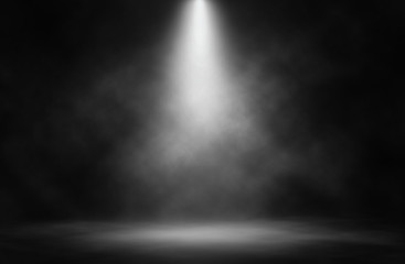 Poster Lumiere, Ombre Stage white smoke spotlight background.
