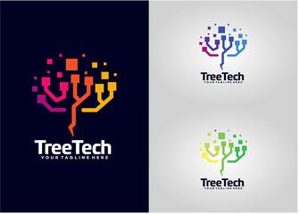 Tree Tech Logo Template Design Vector, Emblem, Design Concept, Creative Symbol, Icon Wall mural