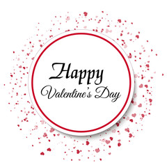Valentine's Day greeting card with red hearts and black text. Vector