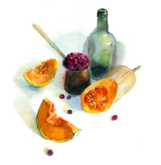 Watercolor painting. Still life pumpkin with a bottle and berries on white background.