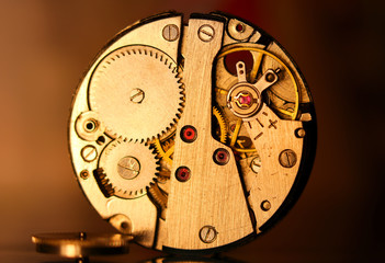 Close up shot of antique watch mechanism