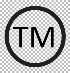 trade mark isolated on transparent. trade mark icon flat design style. trade mark sign.