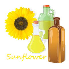 Sunflower oil bottle isolated on white illustration