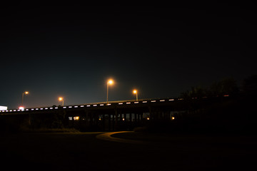 Long exposure of a highway overpass at night