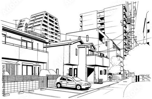 漫画風ペン画イラスト 住宅街並fotoliacom の ストック写真と