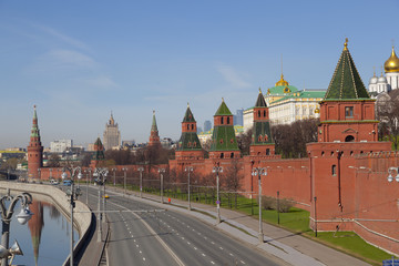 View of the towers of the Moscow Kremlin from the embankment of the Moscow river