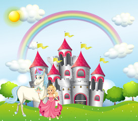 Background scene with princess and unicorn at pink castle