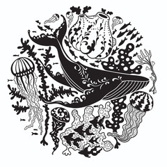 Round vector print with a whale