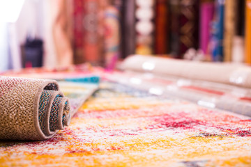 Image of colorful wool carpets for sale at showroom