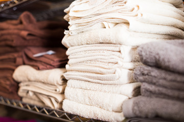 towels for bathroom in the textile store