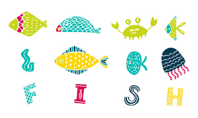 set of colorful cartoon fish