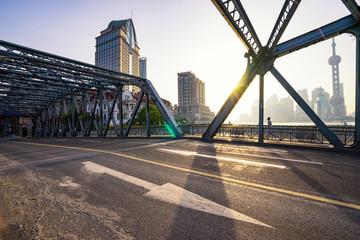 empty road on bridge in modern city