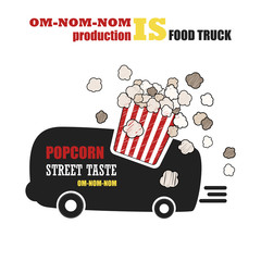 Vector set with foodtruck. Street food, Popcorn. Fast food. Cafe on wheels
