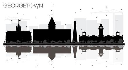 Georgetown Guyana City skyline black and white silhouette.