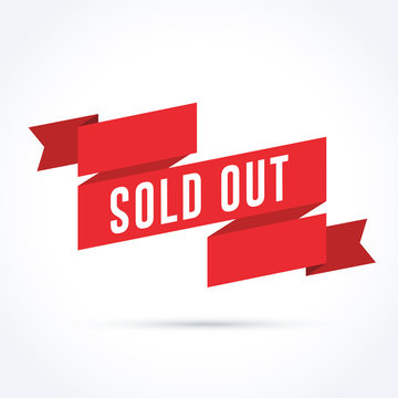 Sold Out Banner with Red Ribbon Illustration
