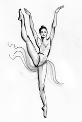 Beautiful dancing ballerina. Black and white ink sketch