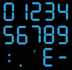 set of calculator digital numbers. electronic figures. LCD digital number. blue clock digital.