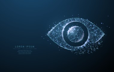 Eye. Polygonal wireframe mesh with crumbled edge looks like constellation. Concept illustration or background