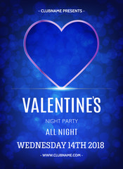 Blue Heart Valentines Day Party Flyer. Typography flyer invitation vector illustration.