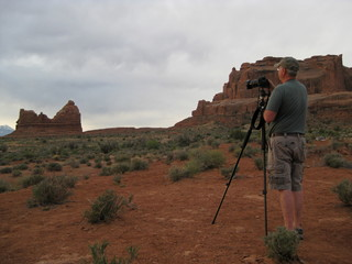 Photographer setting up camera and tripod at Zion National Park