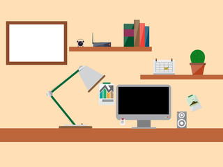 vector scene of work space and blank space on screen