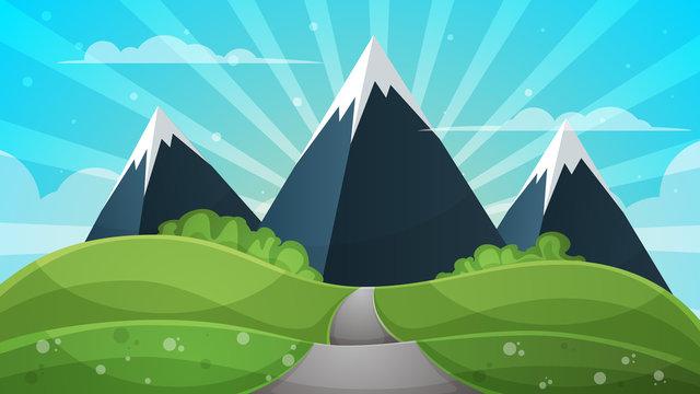 Cartoon landscape - abstract illustration. Sun, ray, glare, hill, cloud, mountain.