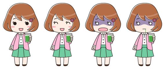 青汁入りのコップを持つ女性 全身 セット