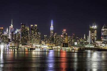 NYC skyline night reflections