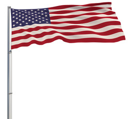 Isolated large cloth in the colors of USA on a flagpole fluttering in the wind on a white background