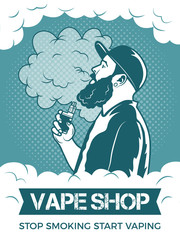 Hipster holding electronic cigarette, he smoking and make vapor. Poster template for vaping shop or club