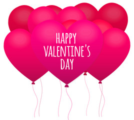 Pink Balloons Heart, Happy valentine's day