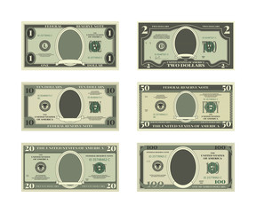 Template of fake money. Vector pictures of dollars