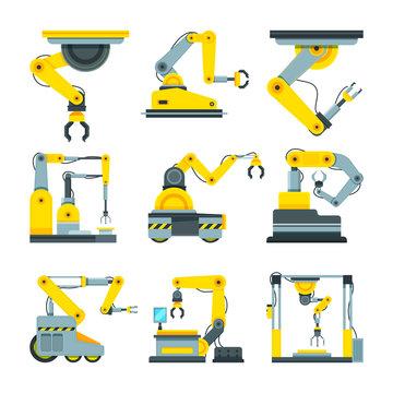Industrial mechanical hands. Vector pictures in cartoon style