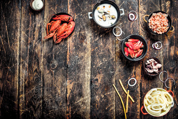 Wall Mural - Seafood in bowls.