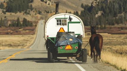 Sheep Herder Trailer on Highway