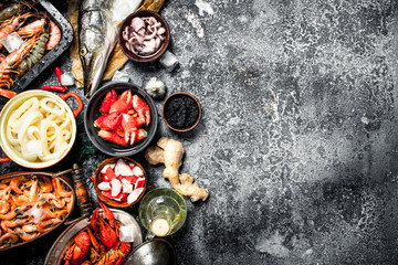 Fototapete - Different fresh seafood.