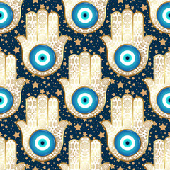 Background with stars and ornate hamsa, obereg against the evil eye and spoilage