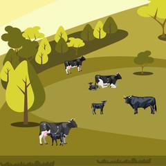 Farm flat landscape with cows