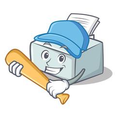 Playing baseball printer character cartoon style
