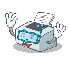 Diving printer character cartoon style