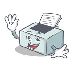 Waving printer character cartoon style
