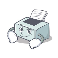 Smirking printer character cartoon style