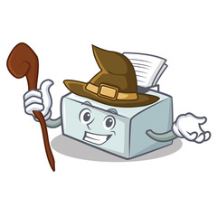 Witch printer mascot cartoon style