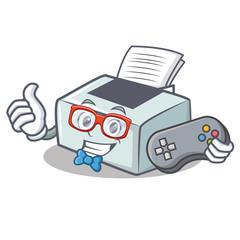 Gamer printer mascot cartoon style