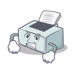 Angry printer mascot cartoon style