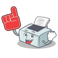 Foam finger printer mascot cartoon style