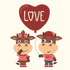 Love. Funny bull and cow with balloon-heart. Greeting card for Valentine's day.