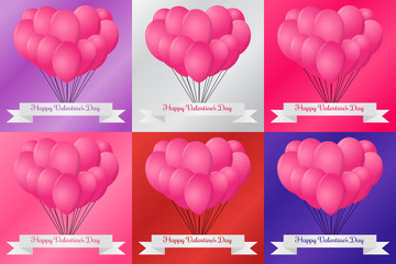 Sets of pink heart balloon with various background color